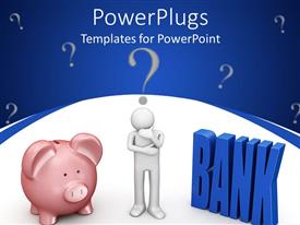 PowerPoint template displaying 3D graphics of a human character beside a piggy bank and many question marks