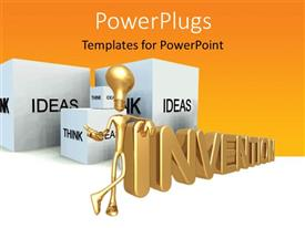 PowerPlugs: PowerPoint template with 3D graphics of a human character with a bulb head with some cubes and text
