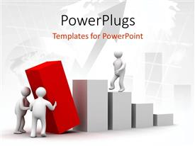 PowerPoint template displaying 3D graphics of a human character climbing some white bars
