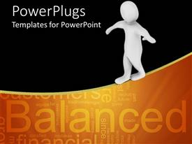 PowerPoint template displaying 3D graphics of a human character climbing a line