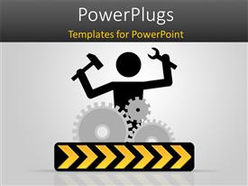 PowerPlugs: PowerPoint template with 3D graphics of a human character holding some tools and gears