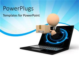 PowerPlugs: PowerPoint template with 3D graphics of a human character holding a package coming out of a laptop