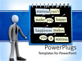 PowerPlugs: PowerPoint template with 3D graphics of a human character pointing at a board with lots of text