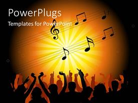 PowerPlugs: PowerPoint template with 3D graphics of human characters dancing and some music symbols