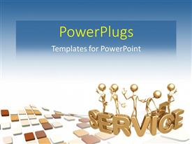 PowerPlugs: PowerPoint template with 3D graphics of human characters standing on a text which spells out he word ' service'