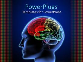 PowerPlugs: PowerPoint template with 3D graphics of a human head showing the brain in different colored