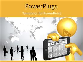 PowerPlugs: PowerPoint template with 3D graphics of a human holding up a phone with people around
