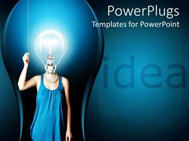 PowerPlugs: PowerPoint template with 3D graphics of a human with a large bright bulb head