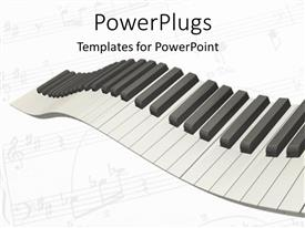 PowerPlugs: PowerPoint template with 3D graphics of the keys of a piano on white background