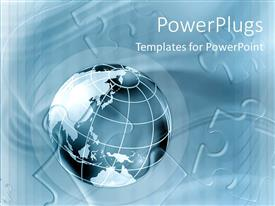 PowerPlugs: PowerPoint template with 3D graphics of a large blue colored globe with puzzles