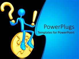 PowerPlugs: PowerPoint template with 3D graphics of a large blue colored human sitting on a gold puzzle
