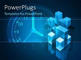 PowerPlugs: PowerPoint template with 3D graphics of a large clock with some bricks