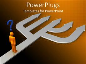 PowerPlugs: PowerPoint template with 3D graphics of a large garden fork with a human character standing on it