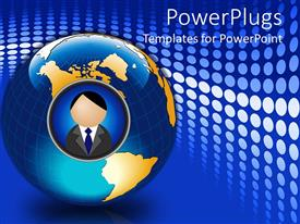 PowerPlugs: PowerPoint template with 3D graphics of a large globe with a human image in tile