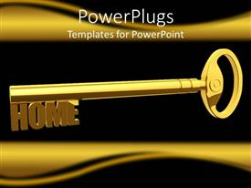 PowerPlugs: PowerPoint template with 3D graphics of a large gold colored key and  text which spells out the word'home'