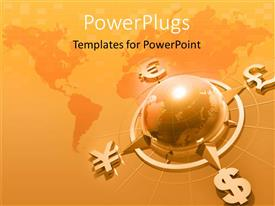 PowerPlugs: PowerPoint template with 3D graphics of a large gold colored globe connected to four currency symbols