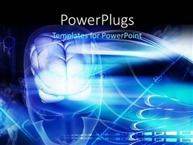 PowerPlugs: PowerPoint template with 3D graphics of a large human head with the brain shinning in blue