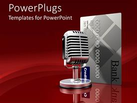 PowerPlugs: PowerPoint template with 3D graphics of a large microphone beside an atm card
