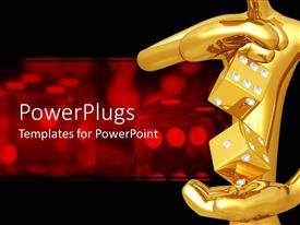 PowerPlugs: PowerPoint template with 3D graphics of a large red human character holding two gold dice