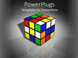 PowerPoint template displaying 3D graphics of a large rubix cube on a shinny background