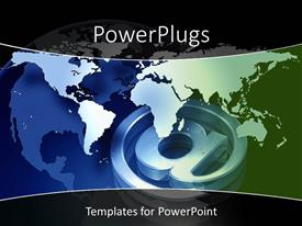 PowerPoint template displaying 3D graphics of a large @ symbol a globe and a map