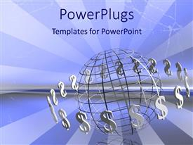 PowerPlugs: PowerPoint template with 3D graphics of a large transparent silver globe with dollar symbols round it