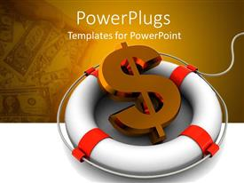 PowerPlugs: PowerPoint template with 3D graphics of a life boat with a large dollar sign
