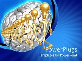 PowerPlugs: PowerPoint template with 3D graphics of lots of gold colored characters with bulb heads matching