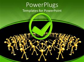 PowerPoint template displaying 3D graphics of lots of gold colored human characters holding up their hands