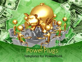 PowerPoint template displaying 3D graphics of lots of gold colored men sitting round a piggy bank