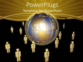 PowerPlugs: PowerPoint template with 3D graphics of lots of human characters standing round a globe