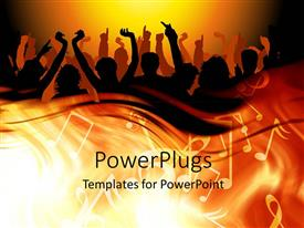 PowerPlugs: PowerPoint template with 3D graphics of lots of people raising ther hands and dancing with a music theme