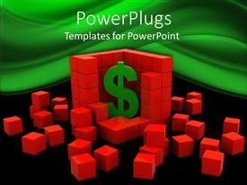 PowerPlugs: PowerPoint template with 3D graphics of lots of red cubes with a large dollar symbol in the middle