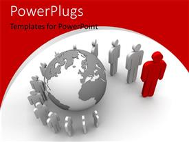 PowerPlugs: PowerPoint template with 3D graphics of lots of white colored human characters standing round a globe