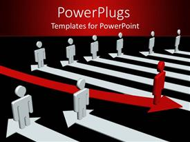 PowerPoint template displaying 3D graphics of lots of white human characters standing on arrows and a distinct red one