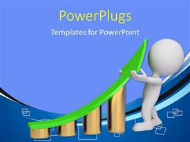 PowerPlugs: PowerPoint template with 3D graphics of a man holding a green arrow on some bars