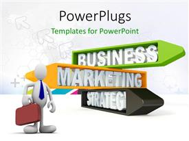 PowerPlugs: PowerPoint template with 3D graphics of a man holding a red briefcase and some text