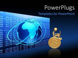 PowerPlugs: PowerPoint template with 3D graphics of a man sitting on a gold coin
