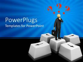 PowerPlugs: PowerPoint template with 3D graphics of a man with three red question marks over his head