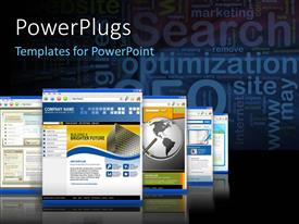 PowerPlugs: PowerPoint template with 3D graphics of many screens with lots of images