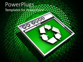 PowerPlugs: PowerPoint template with 3D graphics of a monitor with a recycle sign on a green surface