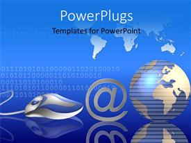 PowerPoint template displaying 3D graphics of a mouse with an @ symbol and a globe