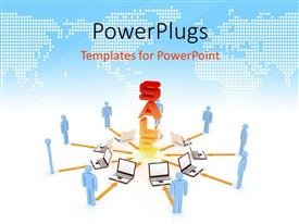 PowerPlugs: PowerPoint template with 3D graphics of nine character standing in frony of open laptops and a large text