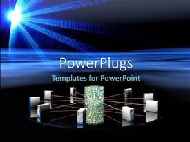 PowerPlugs: PowerPoint template with 3D graphics of nine Internet server equipments connected together