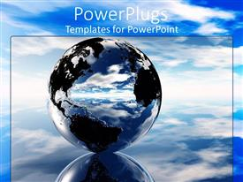 PowerPlugs: PowerPoint template with 3D graphics pf a large clear globe in a clear blue sky background