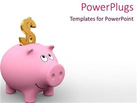 PowerPlugs: PowerPoint template with 3D graphics of a piggy bank with a gold colored dollar symbol
