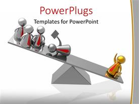 PowerPlugs: PowerPoint template with 3d graphics of a scale with four silver  characters and a gold one