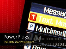 PowerPlugs: PowerPoint template with 3D graphics of a screen with some text on it and binary behind