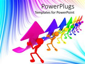 PowerPlugs: PowerPoint template with 3D graphics of seven multicolored characters holding up arrows