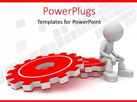 PowerPlugs: PowerPoint template with a 3D graphics sitting on a stack or red gears